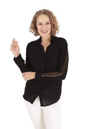 BUKETLİ Kadın Siyah Kolu Dantel Gömlek