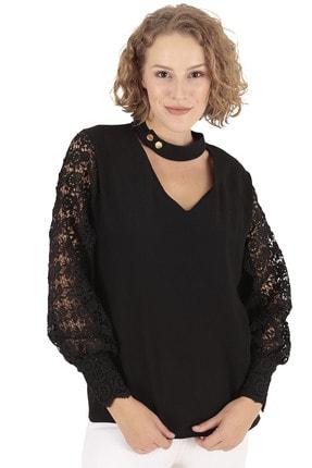 BUKETLİ Kadın Yaka Detaylı Güpür Kol Siyah Bluz