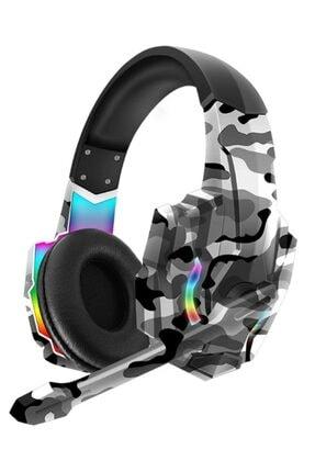 Teknonet Oyuncu Kulaklığı Kamuflaj Profesyonel 7.1 Rgb Led Işıklı Mikrofonlu Kablolu Kulaküstü Gaming