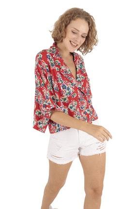 BUKETLİ Kadın Kırmızı Desenli Cepli Salaş Kısa Gömlek
