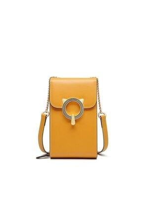 Foxer Mini Crossbody Gold Zincir Askılı Deri Kadın Telefon Çanta