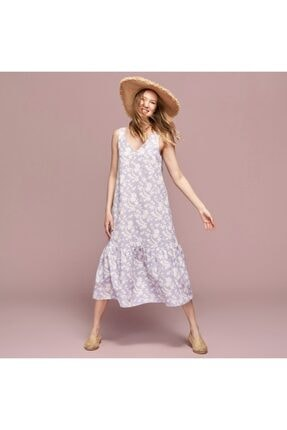 Mudo V Yaka Çiçekli Oversıze Pamuklu Midi Elbise