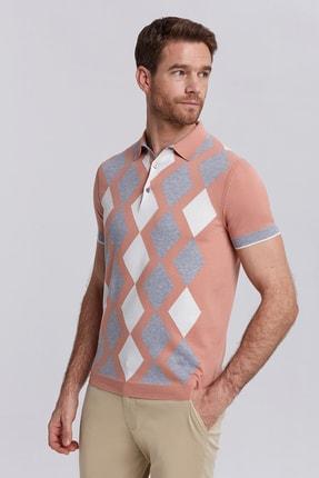 Hemington Erkek Somon Baklava Desen Triko Polo Yaka T-shirt