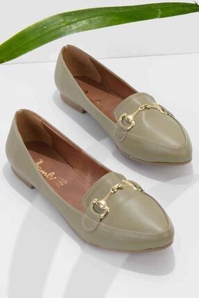 Bambi Haki Kadın Loafer Ayakkabı K01702200109