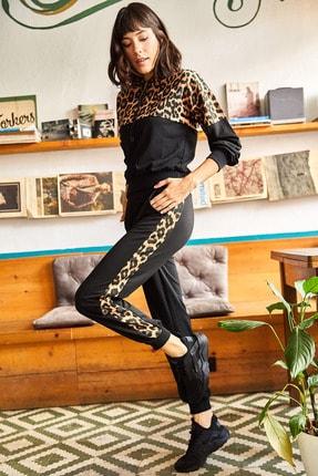 Olalook Kadın Siyah Leopar Garnili Alt Üst Eşofman Takımı ETKM-0000047