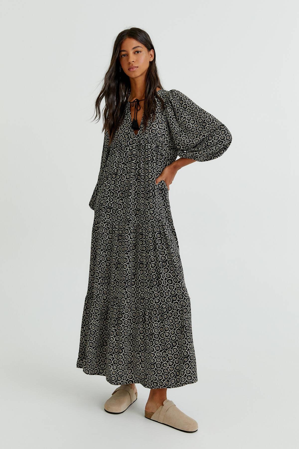 Pull & Bear Kadın Siyah Fiyonklu Midi Elbise 08394324