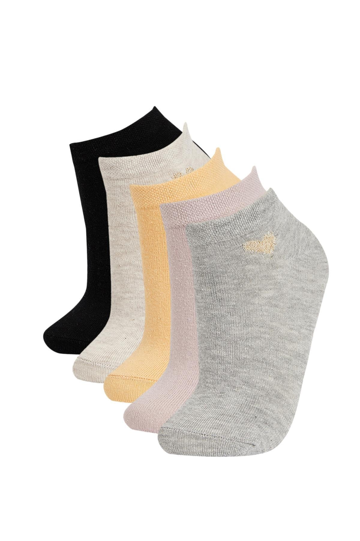 DeFacto Kadın Çok Renkli Desenli 5'Li Patik Çorap V5122AZ21AUKR