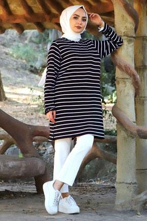 Tesettür Dünyası Çizgili Penye Tunik Tsd3176 Siyah