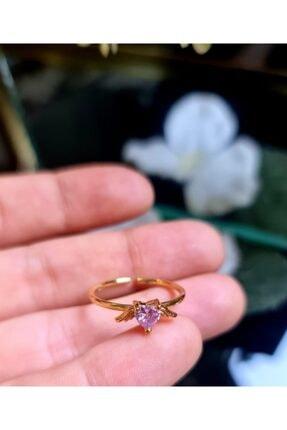 WONDER TOUCH 24k Altın Kaplama Soft Pembe Taşlı,kanatlı Kalp Ayarlanabilir Bijuteri Yüzük,love Yüzük