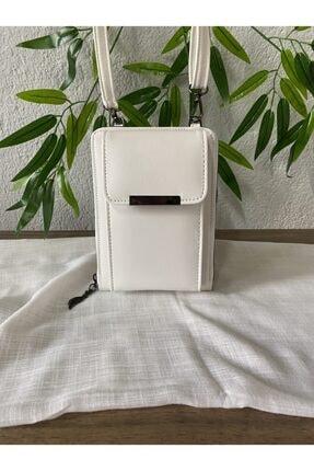 modvina Beyaz Deri Askılı Kadın Telefon Bölmeli Cüzdan Çanta