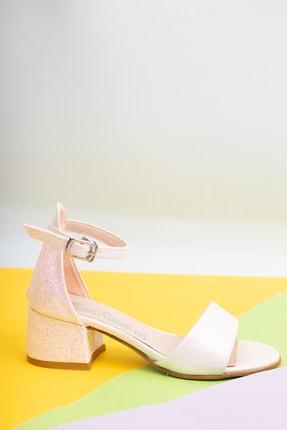 OWWO CLUB Kız Çocuk Bej Simli Tek Bantlı 4 cm Topuklu Abiye Ayakkabı