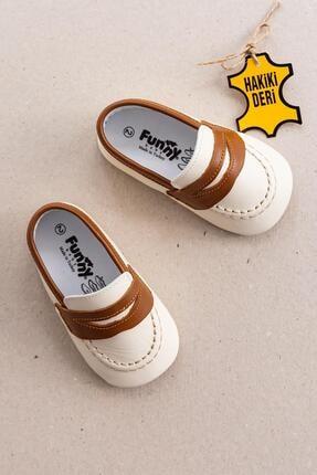 Funny Baby Hakiki Deri Ilk Adım Erkek Bebek Ayakkabı Deri Bebek Patik