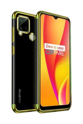 Oppo Realme C25 Kılıf Köşeleri Lazer Boyalı Şeffaf Silikon Gold