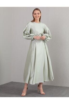 Kayra Kuşaklı Balon Kol Elbise Su Yeşili B21 23134