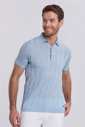 Hemington Erkek Açık Mavi İpek Karışımlı Çizgili Triko Polo Yaka T-shirt