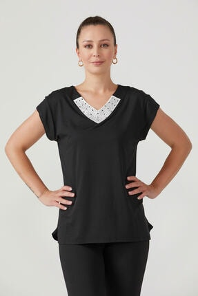 Sementa Kadın V Yaka Taş Detaylıı Bluz - Siyah