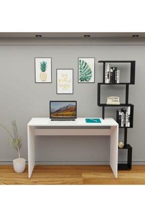 Oyuncak Odası Pratik Kitaplıklı Çalışma Masası Beyaz Siyah 150x50 Cm