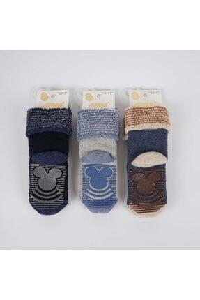 Artı Axel 3'lü Kaydırmaz Taban Erkek Bebek Havlu Soket Çorap