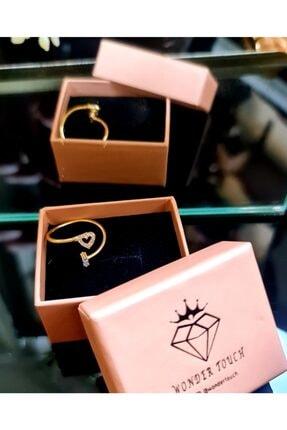 WONDER TOUCH 24k Altın Kaplama Zirkon Taşlı Kalp Ve Baget Taşlı Yüzük,ayarlanabilir Bijuteri Yüzük