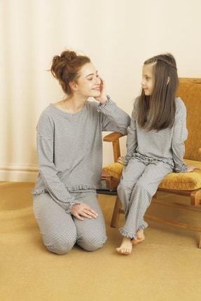 Siyah İnci Kadın Gri Pijama Takımı