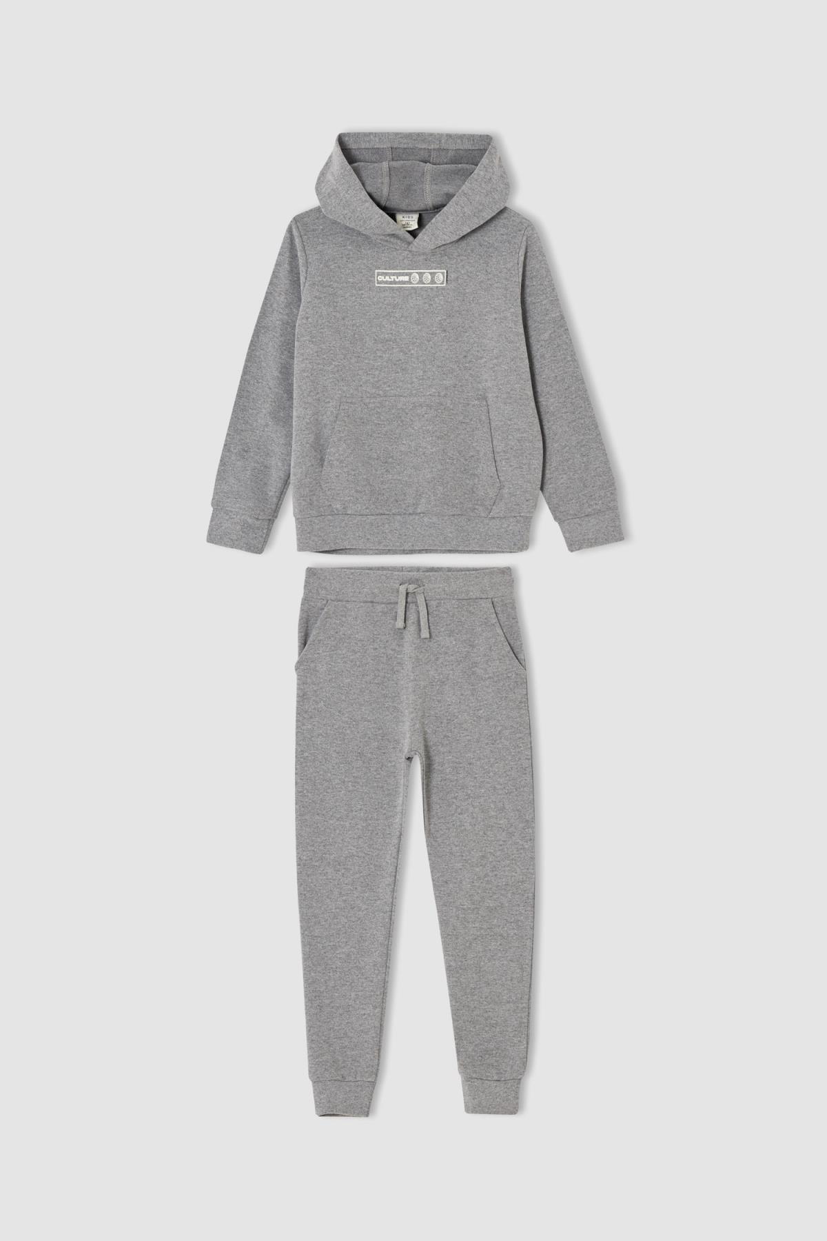 DeFacto Gri Erkek Çocuk Sırtı Aslan Baskılı Sweatshirt ve Jogger Eşofman Alt Takımı V0809A621AU