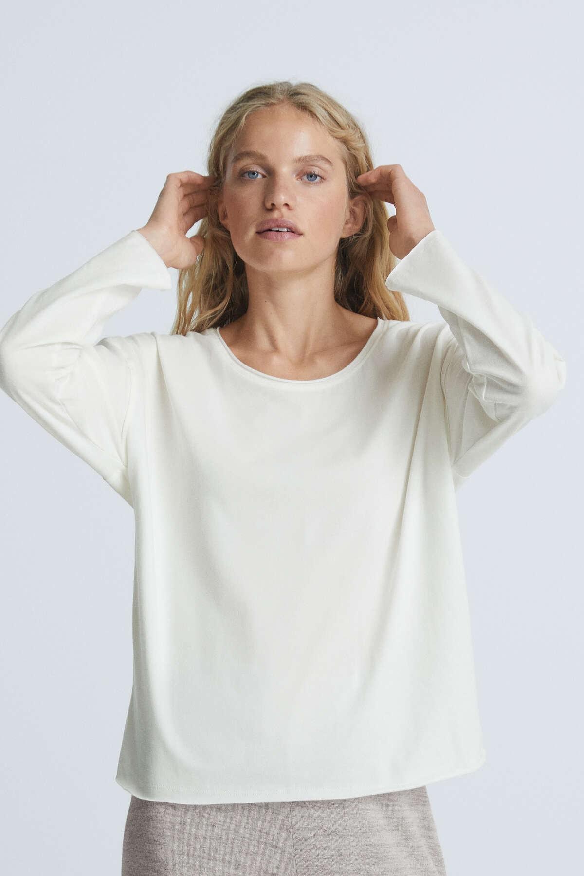 Oysho Kadın Beyaz %100 Pamuklu Uzun Kollu T-Shirt 30636559