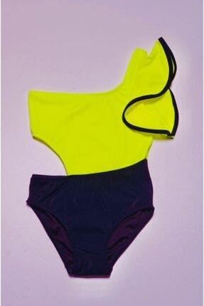 DEEP BEACH Neon Sarı Kolu Volan Detaylı Kız Çocuk Mayo Db200566cm