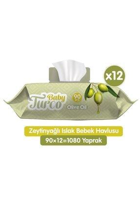 Baby Turco Zeytinyağlı Islak Bebek Havlusu 12x90 Adet