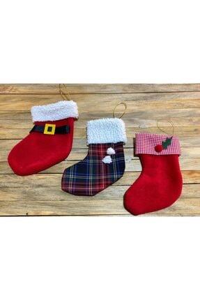 BeySüS Yılbaşı Çorabı Çam Ağacı Ve Şömine Çorabı 3 Lü