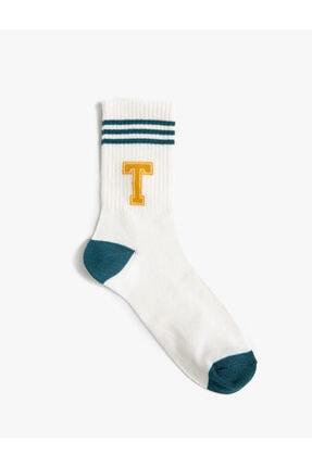 Koton Kadin T Harfi Baskili Soket Çorap