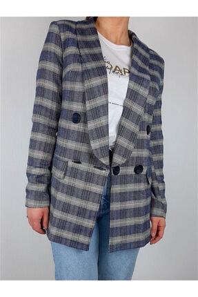 BEZKO Kadın Denim Mavisi Kareli Ceket
