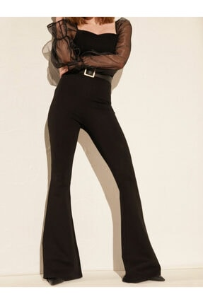Prenses Tayt Kadın Siyah Yüksek Bel Ispanyol Paça Çelik Interlok Tayt Pantolon
