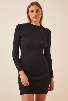 Happiness İst. Kadın Siyah Fitilli Mini Örme Elbise PG00033