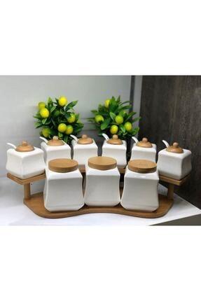ACAR 9 Parça Bambu Standlı Kaşıklı Porselen Lüks Baharat Takımı Yam-010430/4