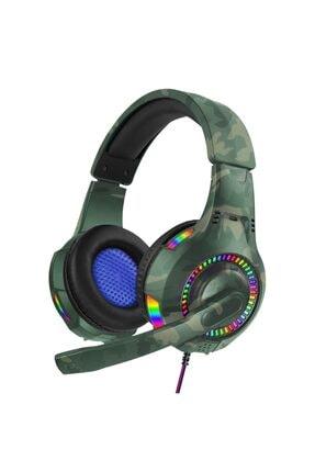 Teknonet Profesyonel Kamuflaj 7.1 Oyuncu Kulaklığı Rgb Led Işıklı Kulak Üstü Mikrofonlu Kablolu Gaming V3