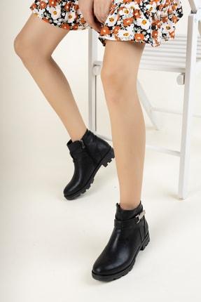 meyra'nın ayakkabıları Siyah Cilt Tokatlı Bot