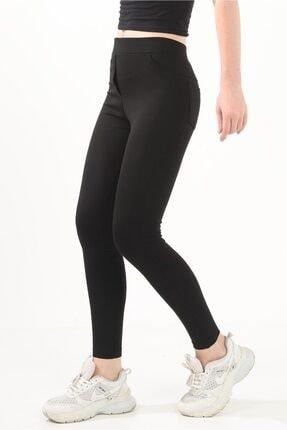 Prenses Tayt Kadın Siyah Yüksek Bel Pantolon Görünümlü Tayt - Siyah