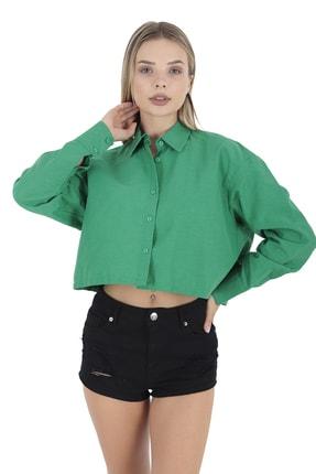 BUKETLİ Kadın Uzun Kollu Yeşil Crop Gömlek