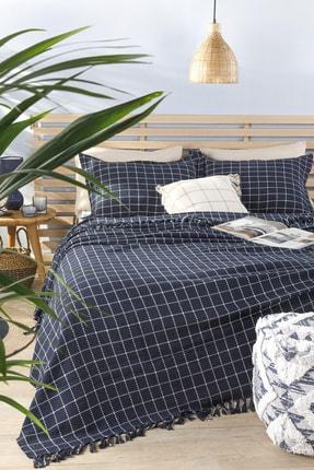 English Home Check Dokuma Tek Kişilik Yatak Örtüsü Takımı 160x240 Cm Lacivert