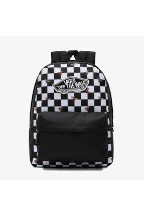 Vans Realm Backpack Checkerboard Damalı Özel Arı Desen Koleksiyon Unisex Siyah Sırt Çantası