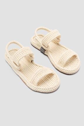 Limoya Kadın Ekru Halat Sandalet