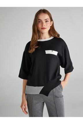 Faik Sönmez Kontrast Cep Ve Etek Detaylı Kısa Kol Triko Bluz 63534