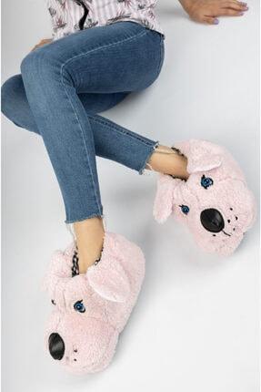 EDS Shoes Unisex Şaşkın Köpek Peluş Yumuşak Kaymaz Taban Ev Pandufu