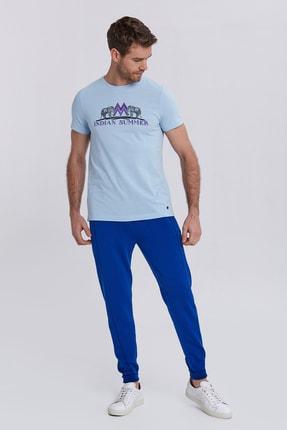 Hemington Erkek Açık Mavi Hint Desen Bisiklet Yaka Pamuk T-shirt