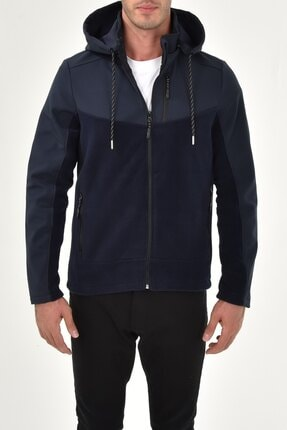 GHASSY CO. Erkek Çıkarılabilir Kapüşonlu Softshell/polar Garnili Spor Ceket