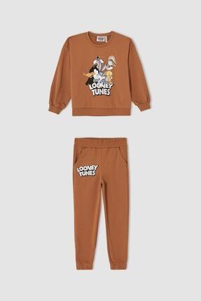 DeFacto Kız Çocuk Looney Tunes Lisanslı Uzun Kollu Sweatshirt Ve Jogger Eşofman Altı Takımı