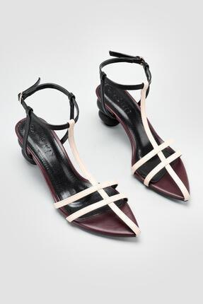 Limoya Kadın Bordo Carissa Ten Siyah Yuvarlak Ökçeli Sandalet