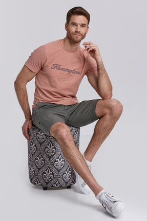 Hemington Logolu Somon Rengi Pamuk T-shirt