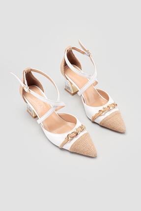Limoya Janine Kadın Beyaz Hasır Detaylı Şeffaf Topuklu Sandalet