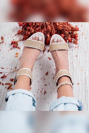 Limoya Maleah Beyaz Gerçek Hasır Alçak Topuklu Hasır Ökçeli Sandalet